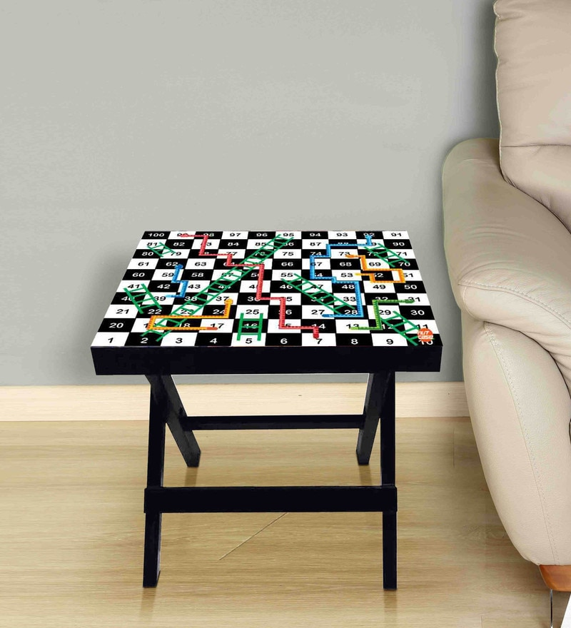 81383ae91 Snakes And Ladder Print Foldable Side Table in Black   White Color by  Nutcase