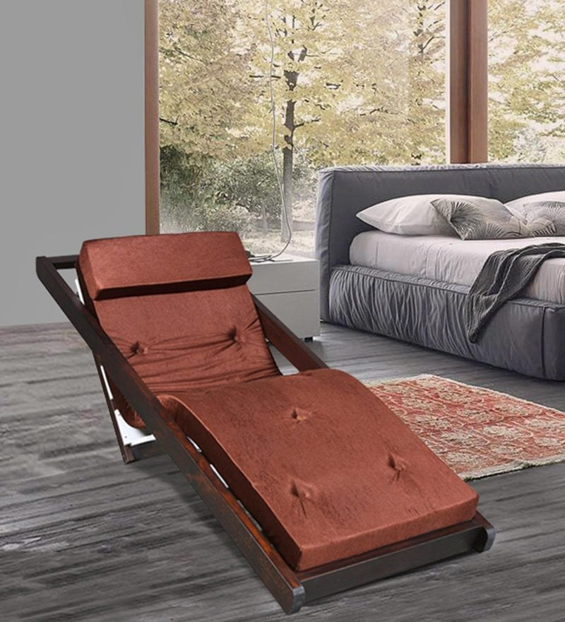 Folding Reclining Leisure Chair in Brown Finish by Arancia Mobel