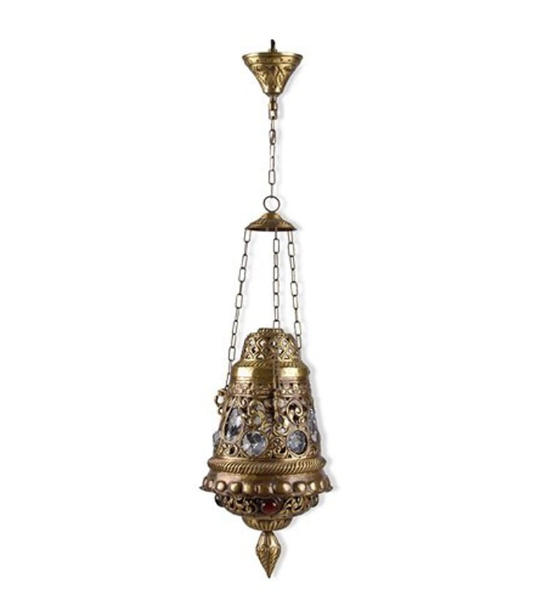Downward Single Shade Moroccan Brass Hanging Light by Fos Lighting