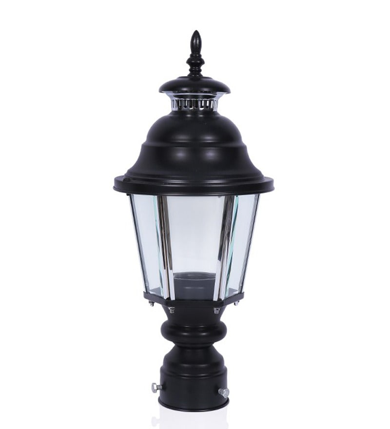 Fos Lighting Black Aluminum Lantern Style Outdoor Pole or Gate Light