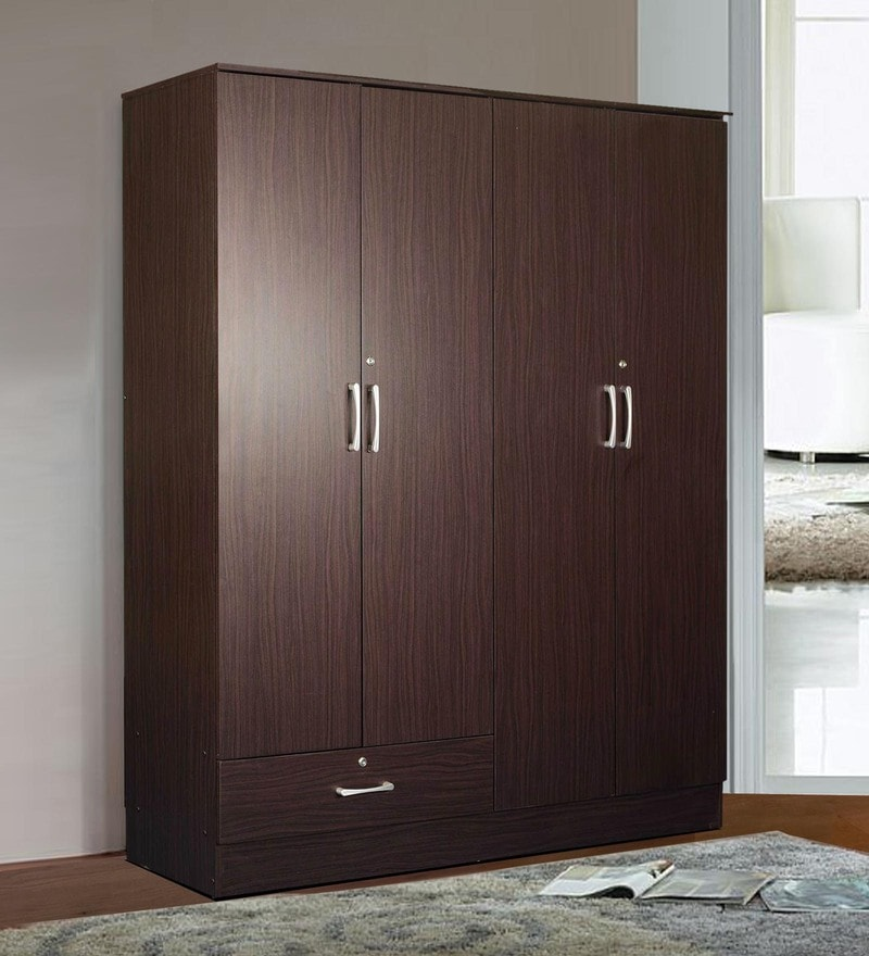 Yukio Four Door Wardrobe in Walnut Finish by Mintwud