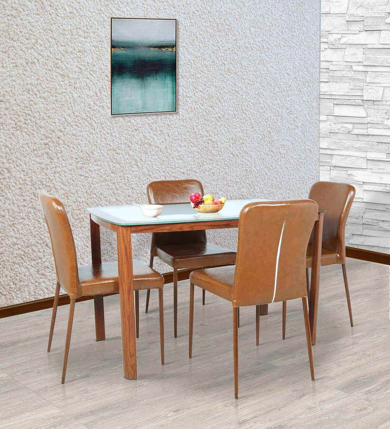 Four Seater Dining Set in Brown Colour by Parin