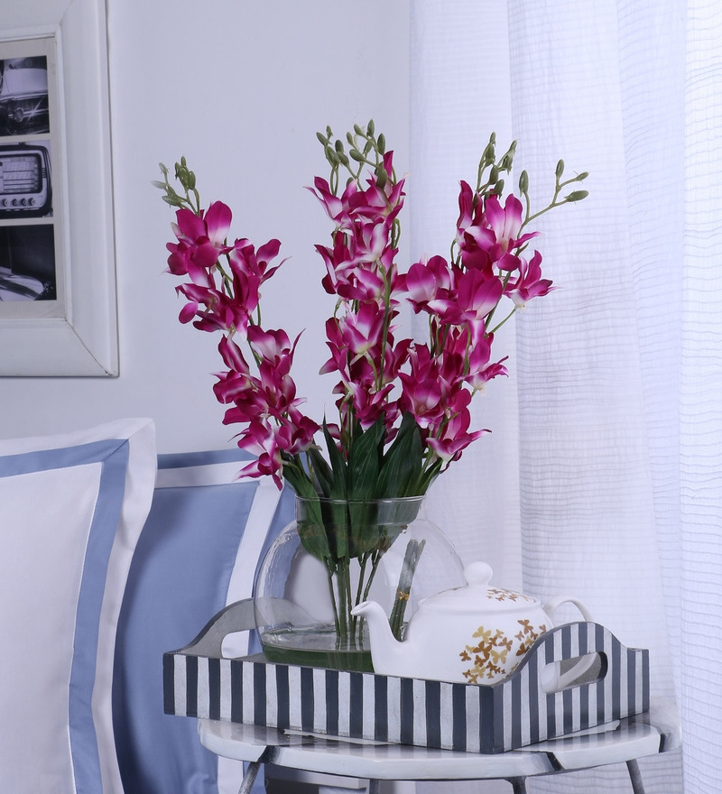 Fuscia Purple Synthetic Artificial Orchid Stems - Set of 8 by Fourwalls
