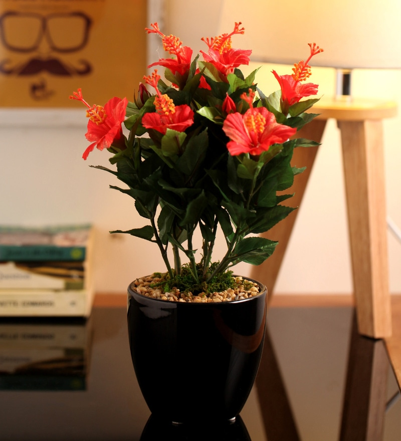 Buy Ginni Bloom Red Pvc Synthetic Velvet Flower Vase Online