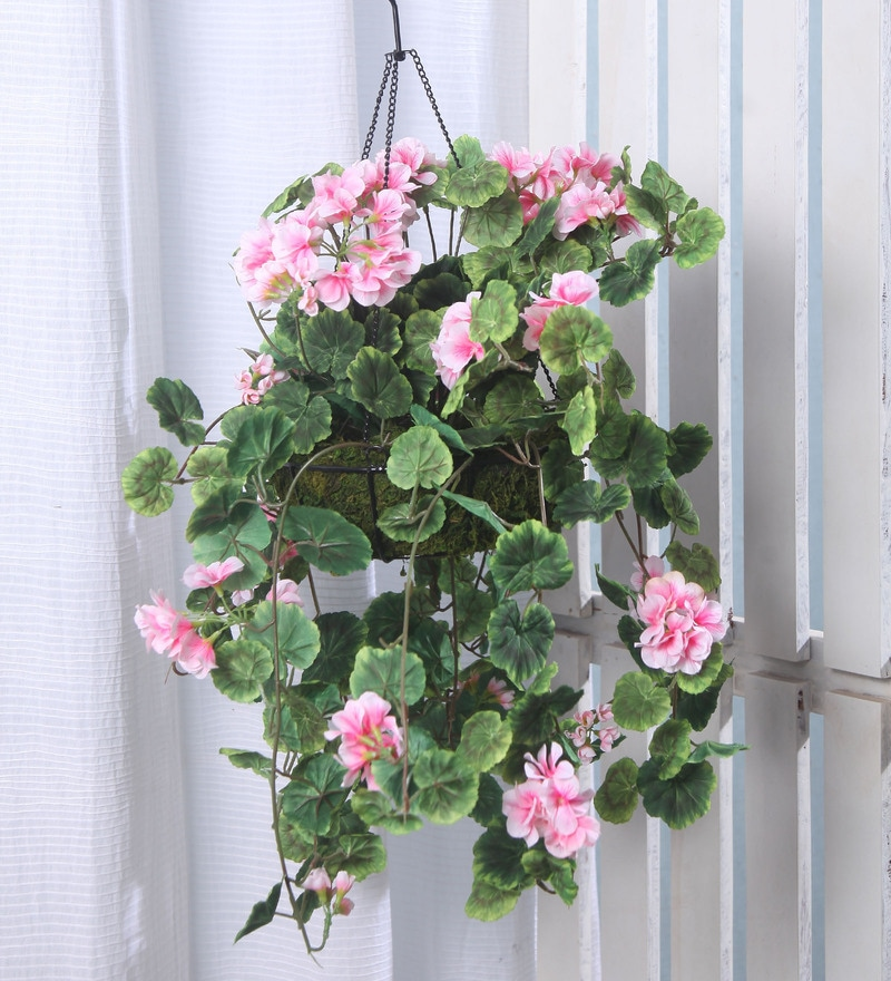 Pink Synthetic Tall Geranium Hanging Basket Decorative Artificial Plant by Fourwalls