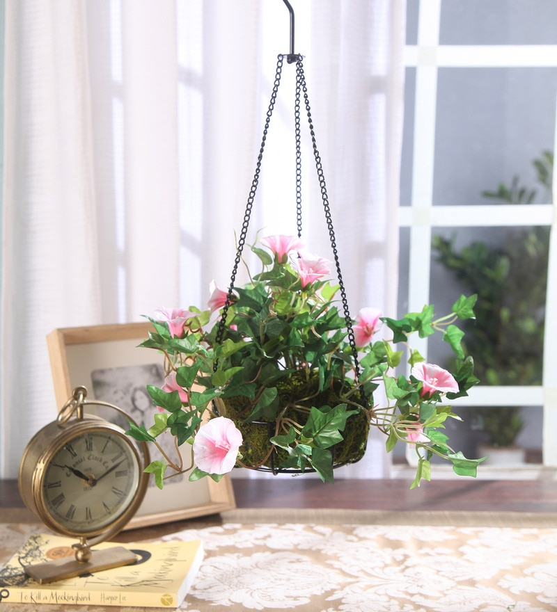 Pink Synthetic Tall Morning Glory Hanging Basket Decorative Artificial Plant by Fourwalls