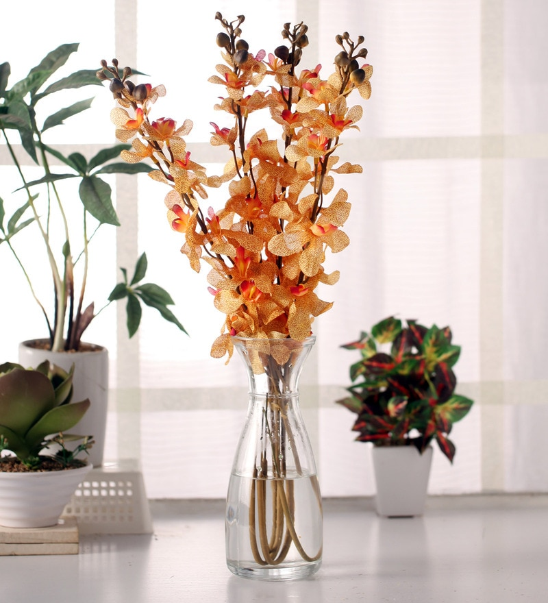 Yellow Synthetic Artificial Mokara Orchid Flowers Stem - Set of 4 by Fourwalls