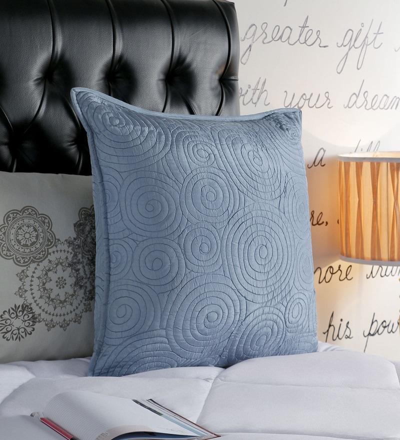 Foyer Blue Taffeta 24 x 24 Inch Spin Cushion Cover
