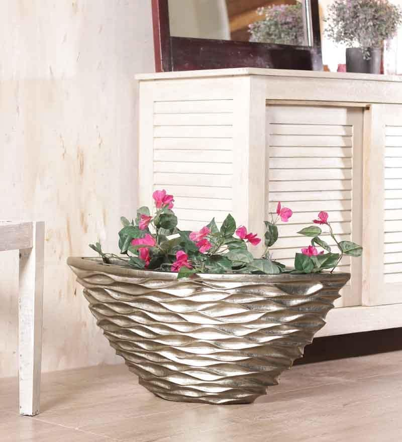 Foyer Conical Champagne Leaf Vase - 16 x 35 in