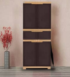Freedom Multipurpose Cabinet With One Drawer In Brown & Biscuit Color