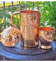 Frestol Copper Hammered Water Jug With Glass - Set Of 2