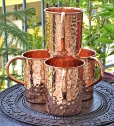 Frestol Pure Copper 400 ML Hammered Beer Mugs - Set Of 4