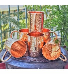 Frestol Pure Copper 400 ML Hammered Beer Mugs - Set Of 6