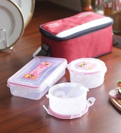 Friends Hot Platters Red Plastic 300 ML (Each) Lunch Box With Bag - Set Of 3