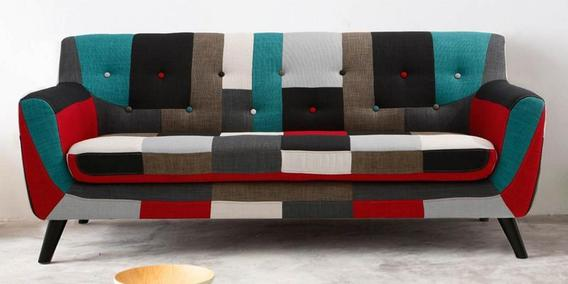 Frida Three Seater Sofa In Red Multi Colour