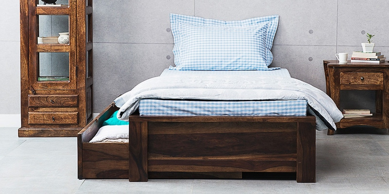 Trego Single Bed with Storage in Provincial Teak Finish by Woodsworth