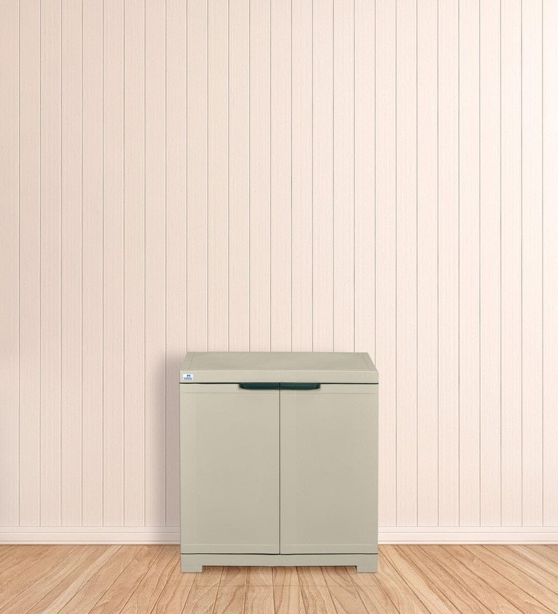 Freedom Mini Small Storage Cabinet in Pastel Green & Grey Colour by Nilkamal
