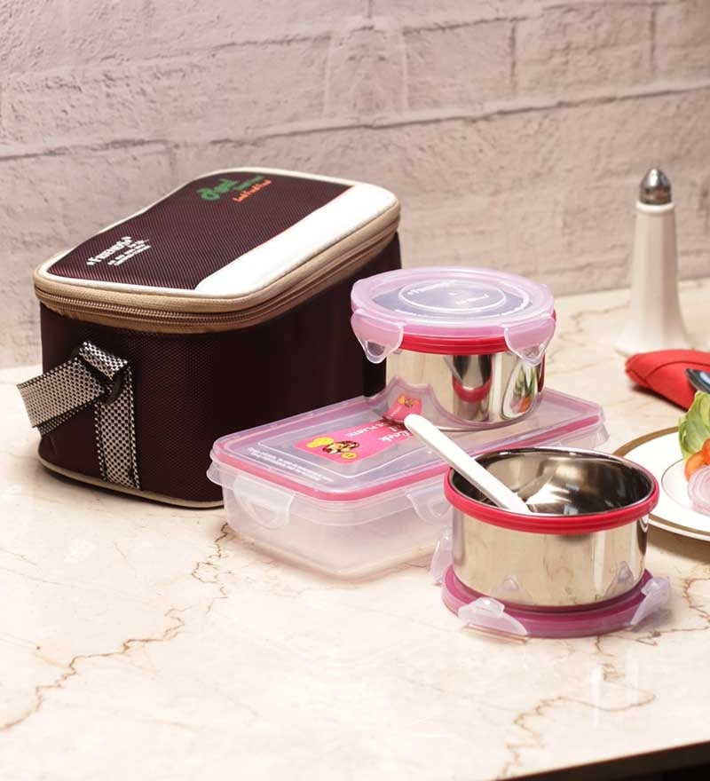 Friends Real Good Food Stainless Steel 4-piece Lunch Box with Bag