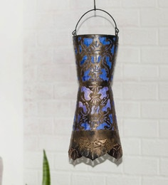 Furncoms Blue Metal Festive Lantern - 1596753