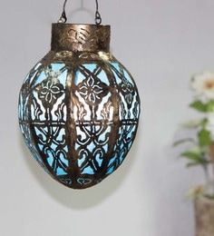 Furncoms Blue Metal Festive Lantern - 1596774