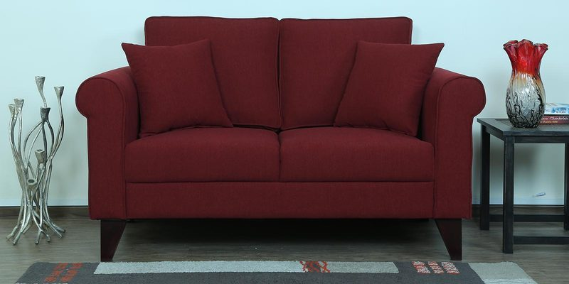 Fuego Two Seater Sofa in Garnet Red Colour by CasaCraft