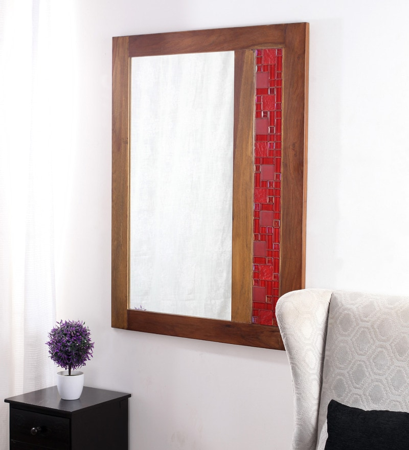 Brown Castagno Mango Wood Mirror by Furnicheer