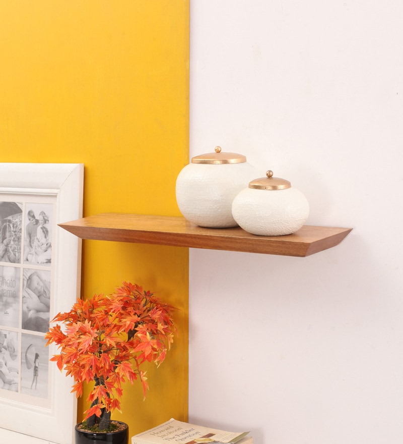 Brown Mango Wood Subhan Wall Shelf by Furnicheer