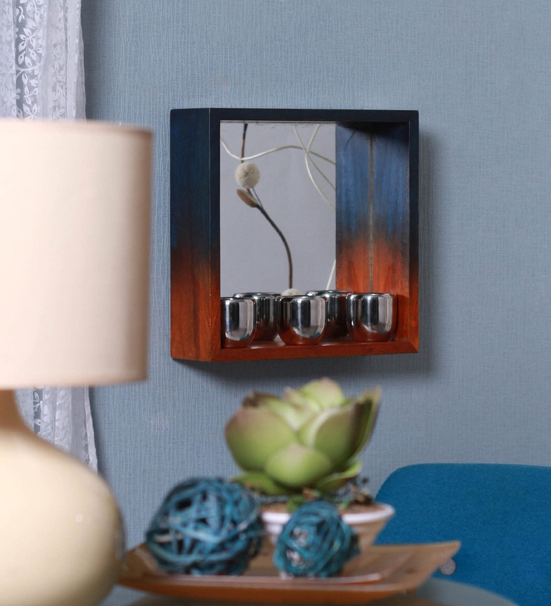 Indigo Blue and Tangerine Orange Mango Wood Niche Mirror Small Wall Shelf by Furnicheer
