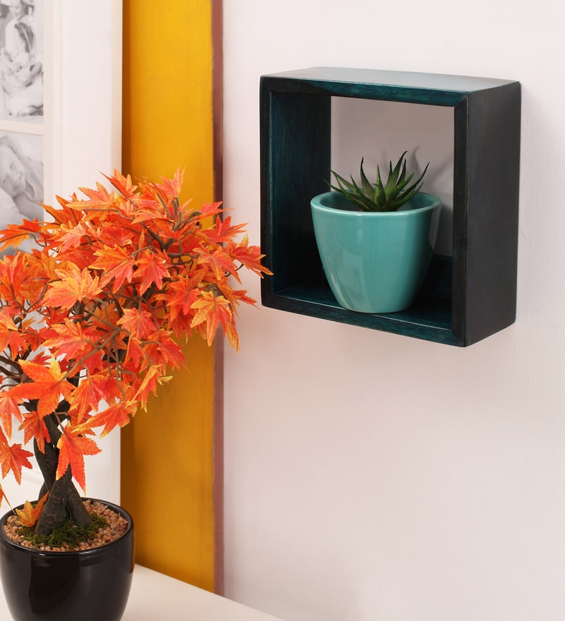 Turquoise Mango Wood Kriti Wall Shelf by Furnicheer