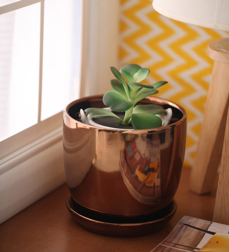 Copper Cermaic Glazed Table Top Planter by Gaia