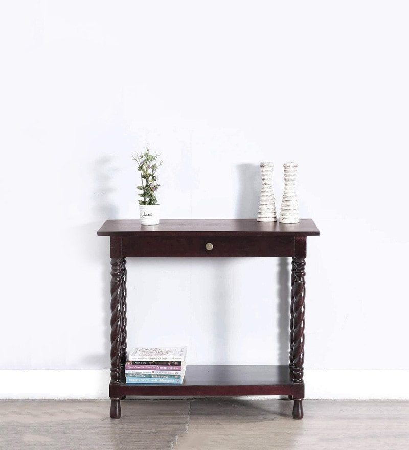 Garbut Compact Console Table in Passion Mahogany Finish by Amberville