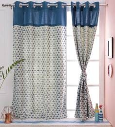 Geometric Design Blue Color 100 Cotton Eyelet 5 X38 Feet Window Curtain