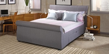 Genesis Queen Size Upholstered Bed With Storage In Grey Colour