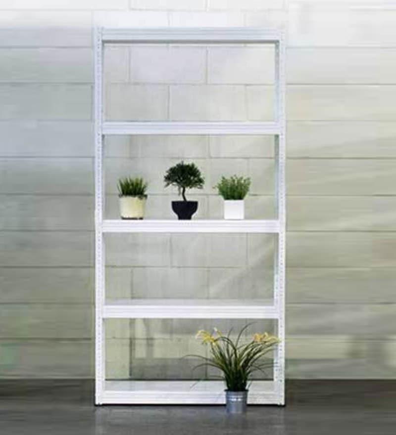 Gen Display Unit cum Book Shelf in White Finish by Mintwud