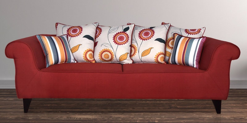 Gilberto Three Seater Sofa with Cushions in Burnt Sienna Colour by CasaCraft