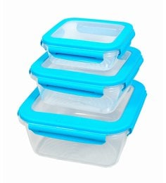 Gkw Blue Polypropylene Food Storage Containers - Set Of 3