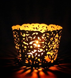 Glass Shape With God Made On It Metal Tea Light Candle Holder