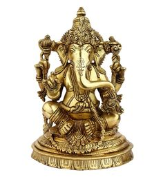 Glossy Brass South India Style Lord Ganesha Statue With Jewellery