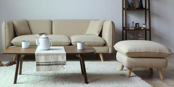 Gloria Three Seater Sofa With Ottoman In Beige Colour
