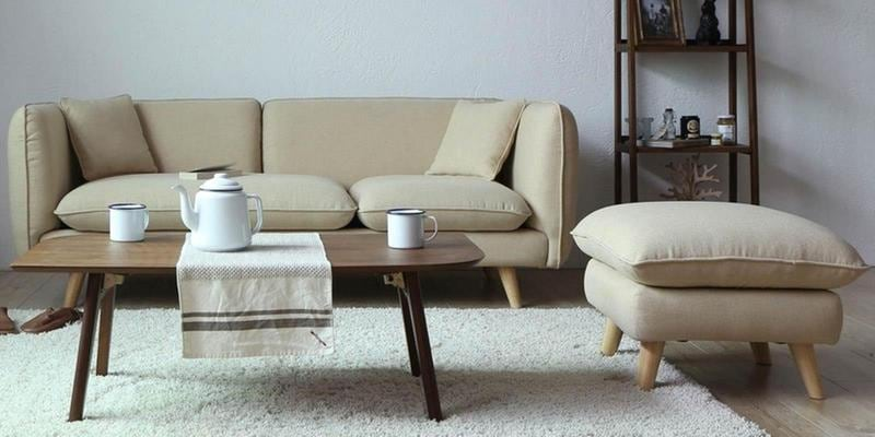 Gloria Three Seater Sofa with Ottoman in Beige Colour by CasaCraft