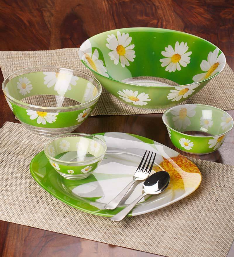 Buy Glass Dinner Set - Set of 27 with 6 Free Pieces Set ...