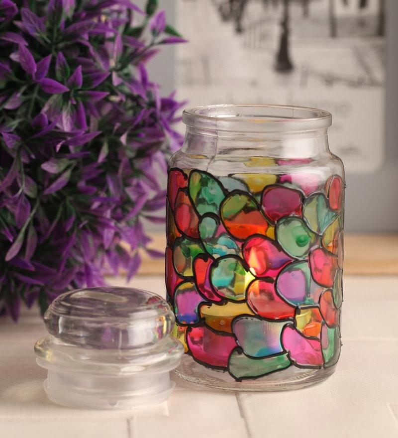 Multicolour Glass Tea Light Holder by Gupta Glass Gallery