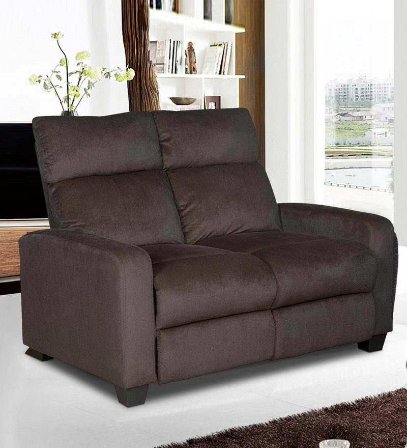 Gloria Two Seater Manual Recliner in Chocolate Brown Colour by @Home