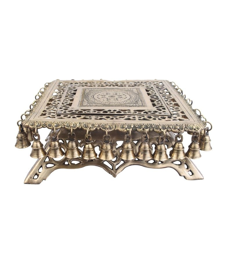 Glossy Brass Indian Handmade Contemporary Decor Chowki Foot Rest Table Small by Statue Studio