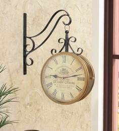 Gold & Black Mild Steel 13 X 4 X 15 Inch Two Sides Station Clock