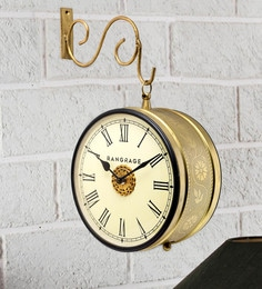Gold MDF & Metal Handcrafted Vintage Double Side Platform Clock