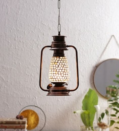 Gold Metal And Glass Lantern