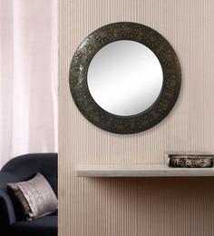 Gold Wooden & Brass Vintage Round Wall Mirror Frame