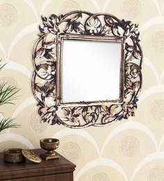 Golden Black Engineered Wood Wall Mirror By Home Sparkle
