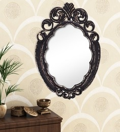 Golden Black Engineered Wood Wall Mirror By Home Sparkle - 1621381